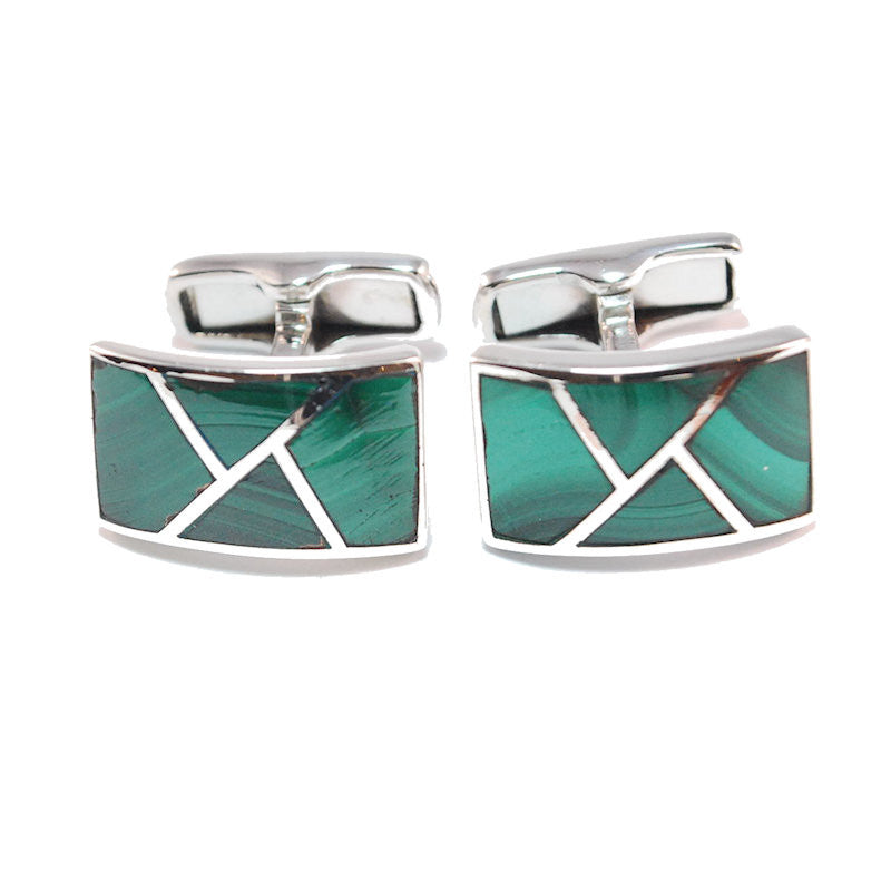 Theodore Sterling Silver Malachite Cufflinks - Theodore Designs