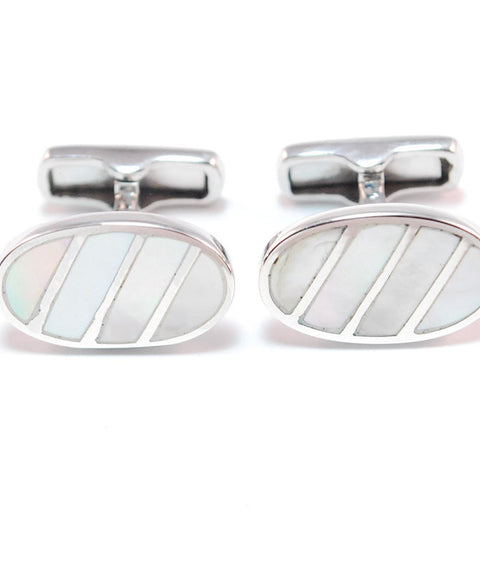 Theodore Sterling Silver Oval Mother of Pearl Cufflinks - Theodore Designs