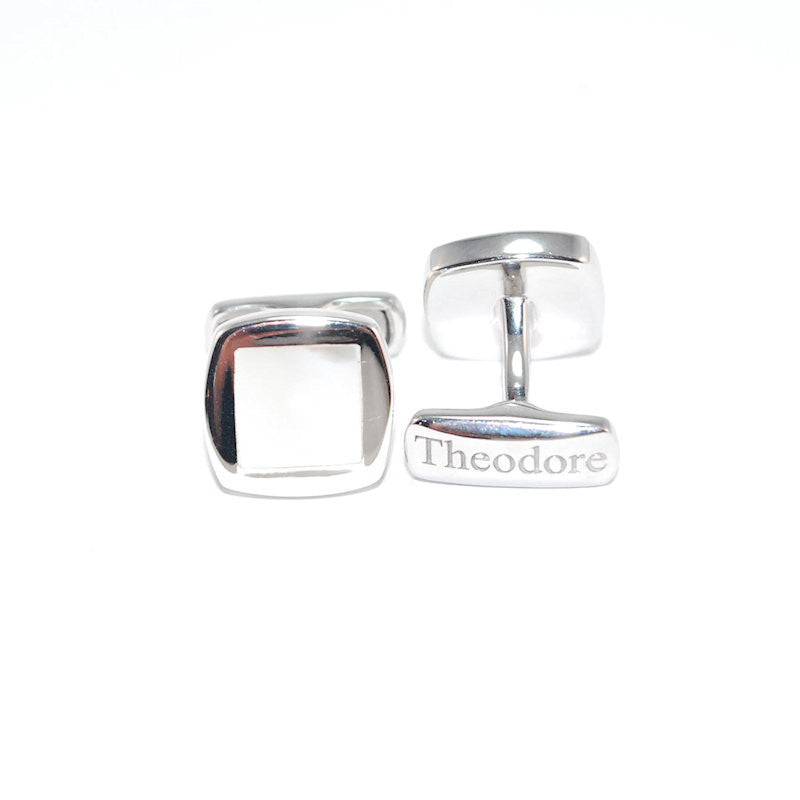 Theodore Sterling Silver Inlay  Mother of Pearl Cufflinks - Theodore Designs