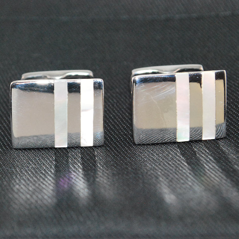 Theodore Sterling Silver Rectangle Mother of Pearl Cufflinks - Theodore Designs
