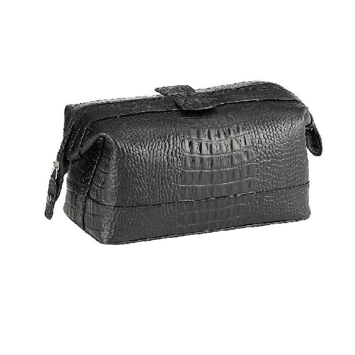 Cudworth Black Leather Crocodile Pattern Toiletry Bag - Theodore Designs
