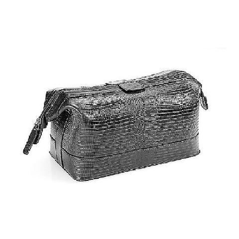 Cudworth Black Leather Lizard Pattern Toiletry Bag - Theodore Designs