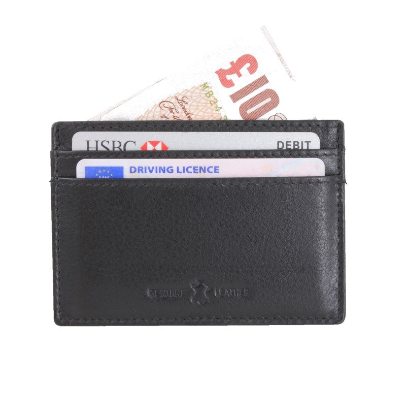 David Aster Amos Black RFID Lined Leather Credit Card Holder - Theodore Designs