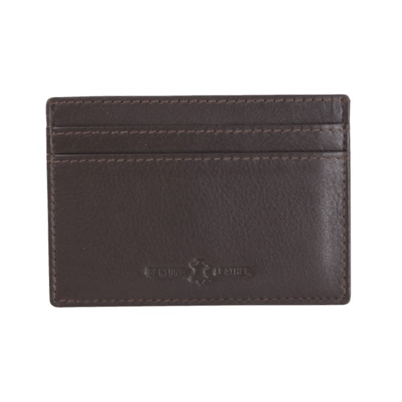 David Aster Amos Brown RFID Lined Leather Credit Card Holder - Theodore Designs