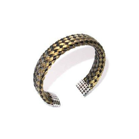 Black and Gold Woven Steel Cuff Bracelet