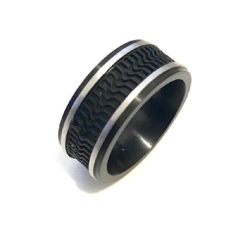 Brushed Stainless Steel and Ion Plated Black with Rubber Tread Ring - Theodore Designs