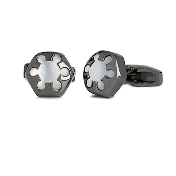 Simon Carter Radial Mother Of Pearl And Gunmetal Cufflink - Theodore Designs
