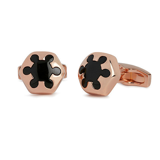Simon Carter Radial Onyx And Rose Gold Cufflinks - Theodore Designs