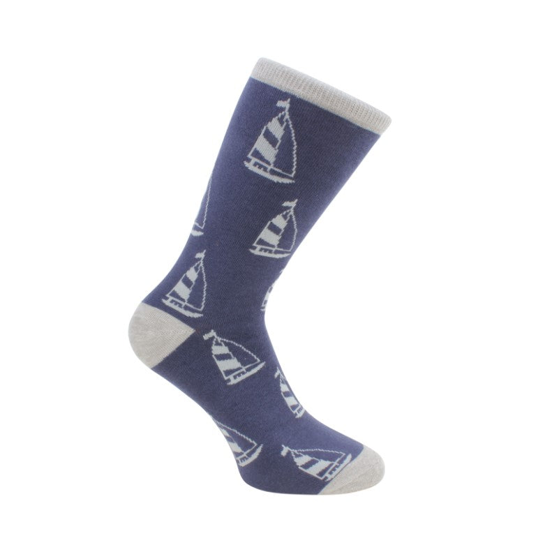 Yacht Socks – Blue and Grey Combed Cotton - Theodore Designs