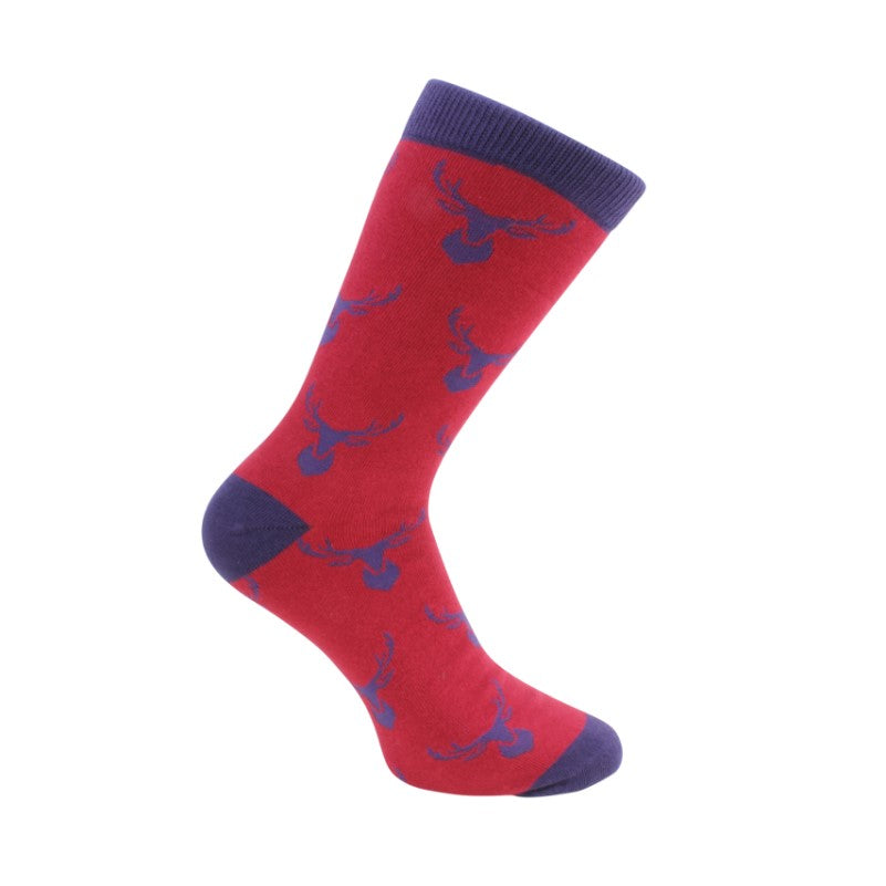 Stag Socks – Red and Blue Combed Cotton - Theodore Designs