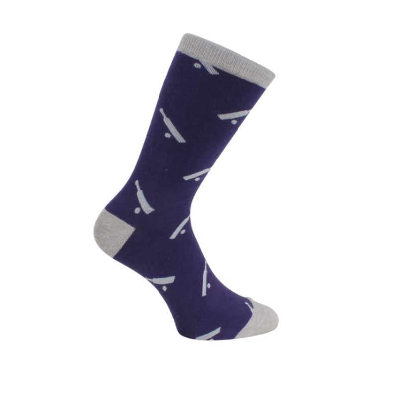 Cricket Socks – Blue & Grey Combed Cotton - Theodore Designs