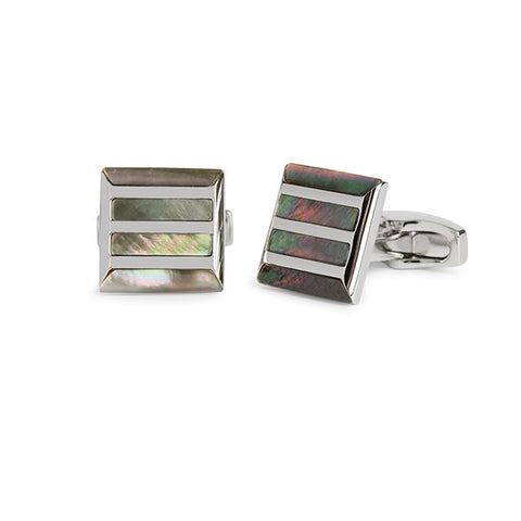 Simon Carter Stone Grille Grey Mother Of Pearl And Polished Cufflinks - Theodore Designs