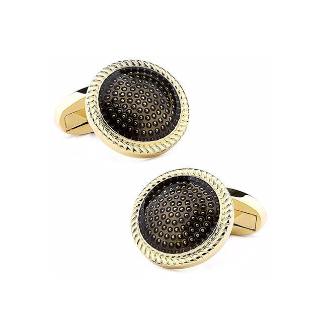 Theodore Gold Black Enamel Cufflinks - Theodore Designs