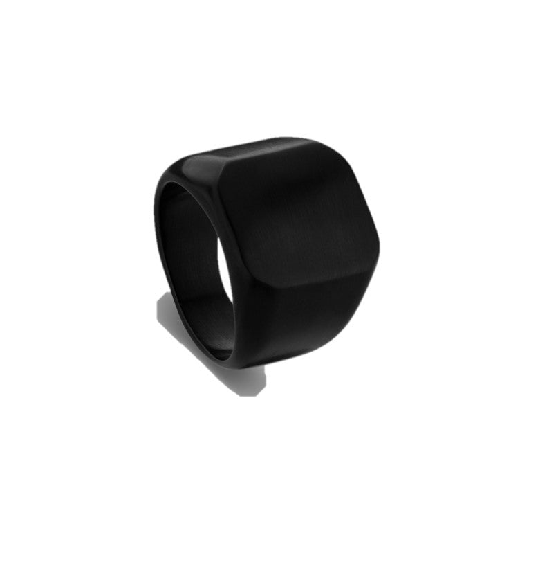 Stainless Steel men's black IP Plated Signet Ring - Theodore Designs