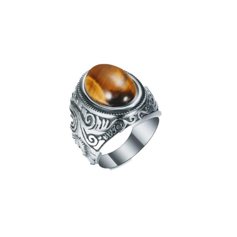 Vintage Men's Tiger Eye High Polished Stainless Steel Signet Ring - Theodore Designs