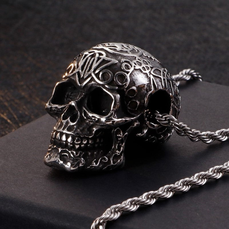 Stainless Steel Men's Punk Skull Pendant Necklace and Chain - Theodore Designs