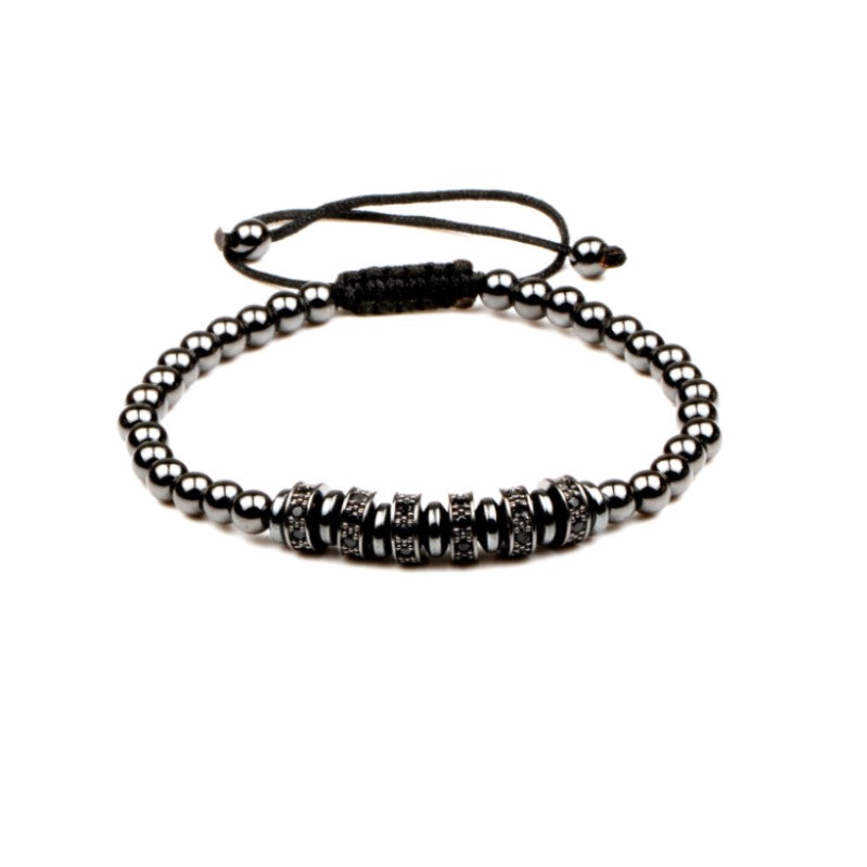 Set of Two Hematite Macrame Bracelets - Theodore Designs