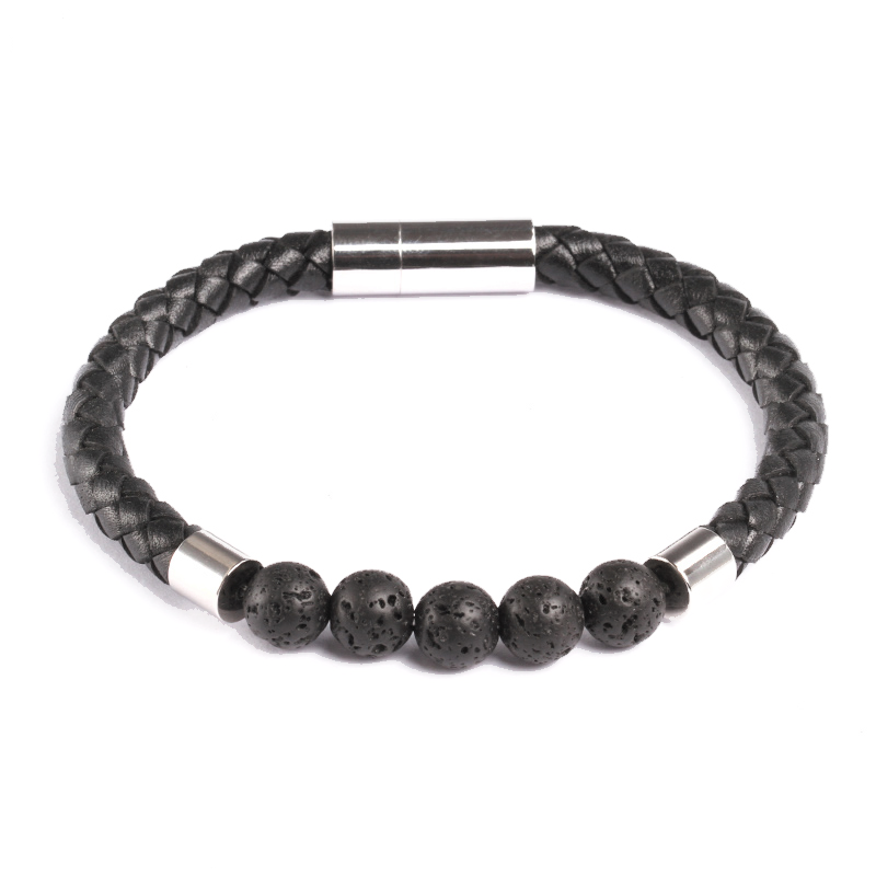 Theodore Stainless Steel Leather and Matte Lava Bead Bracelet - Theodore Designs