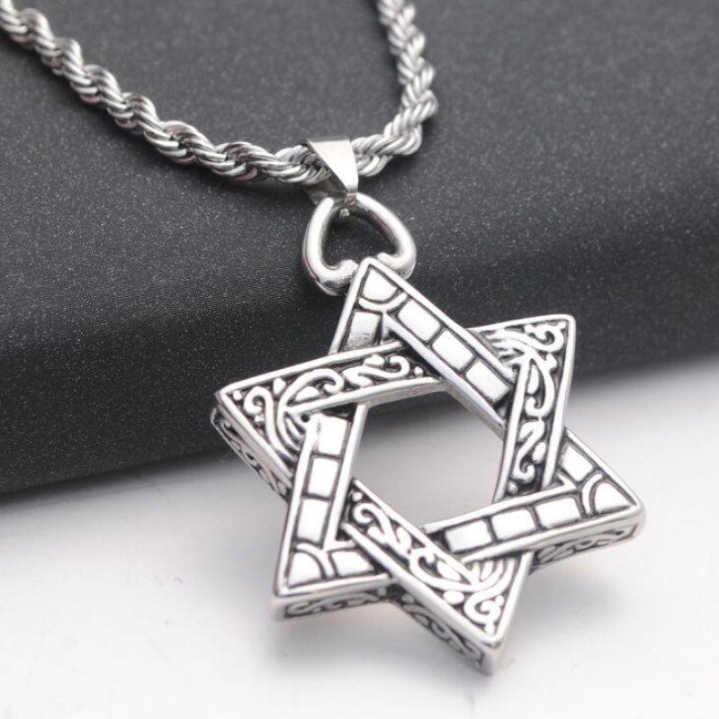 Stainless Steel Large Star of David Pendant Necklace and Chain - Theodore Designs