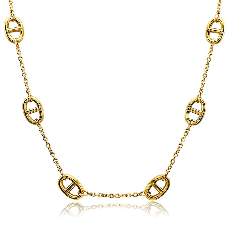 "Theodore Stainless Steel  ""Theta"" Link Chain Necklace - Theodore Designs"