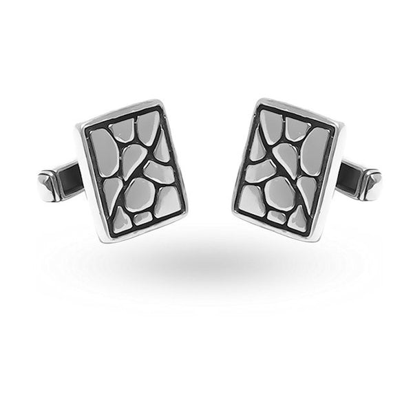 Theodore Sterling Silver Crocodile pattern Cufflinks - Theodore Designs