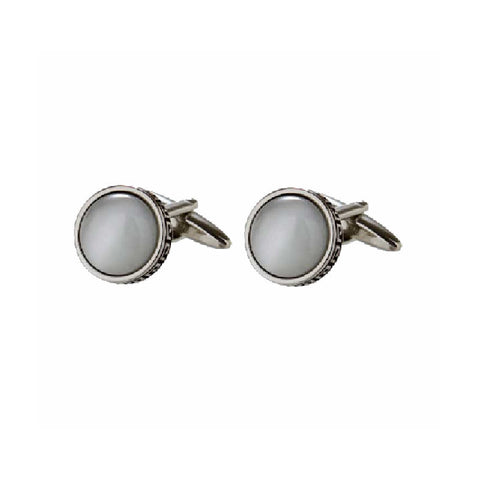 Greek Key White Cats Eye Cufflinks