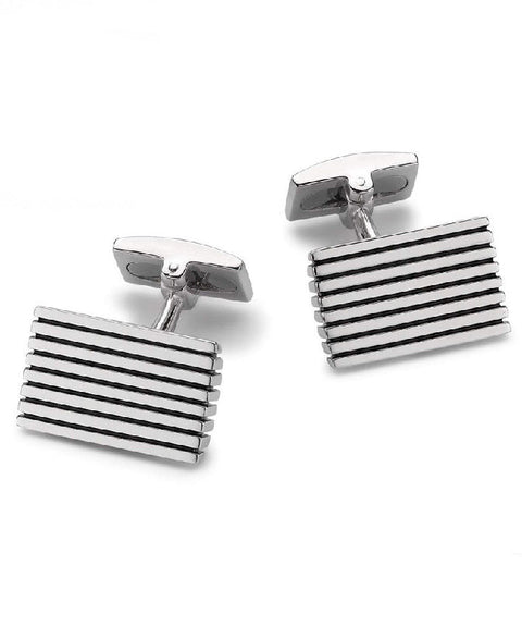 Hoxton Sterling Silver Striped Rectangle Cufflinks