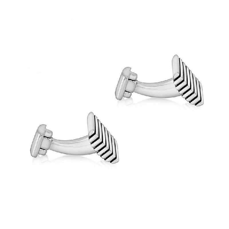 Hoxton Sterling Silver Striped Rectangle Cufflinks - Theodore Designs