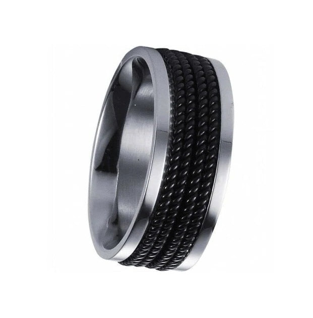 Stainless Steel and Black IP Plated Mesh Ring - Theodore Designs