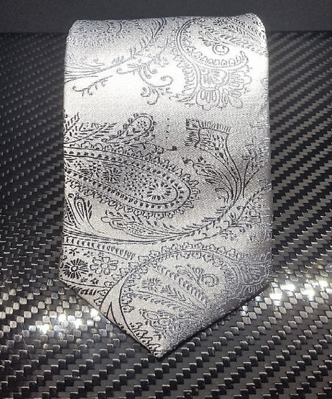 Theodore Light Gray Paisley Silk Neckties