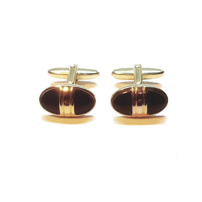 Cudworth Ion Plated Yellow Gold Agate Cufflinks - Theodore Designs