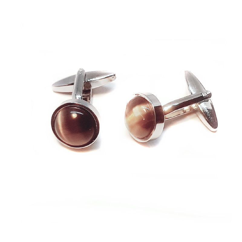 Cudworth Round Dome Tiger Eye Cufflinks - Theodore Designs