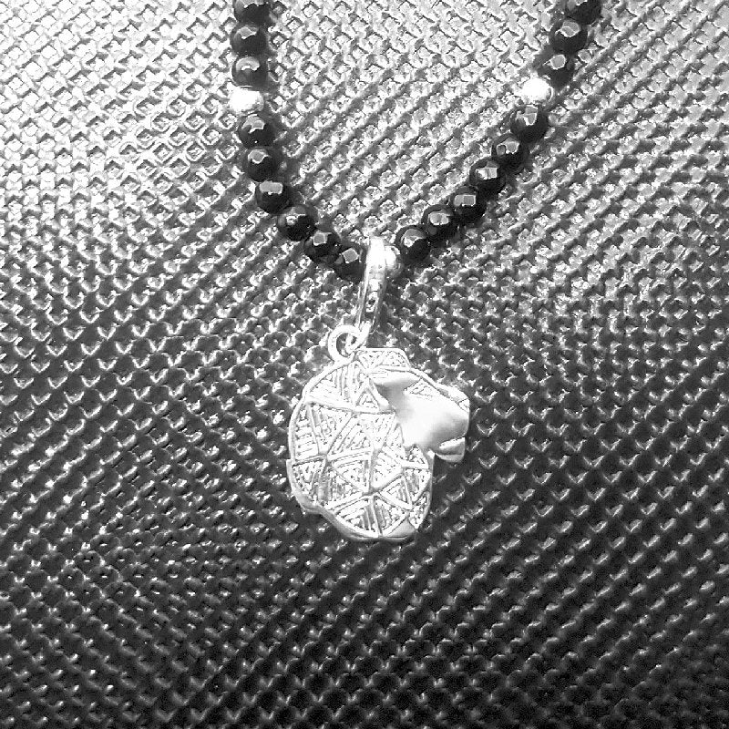 Theodore Silver Lion Head Faceted Onyx Pendent Necklace - Theodore Designs