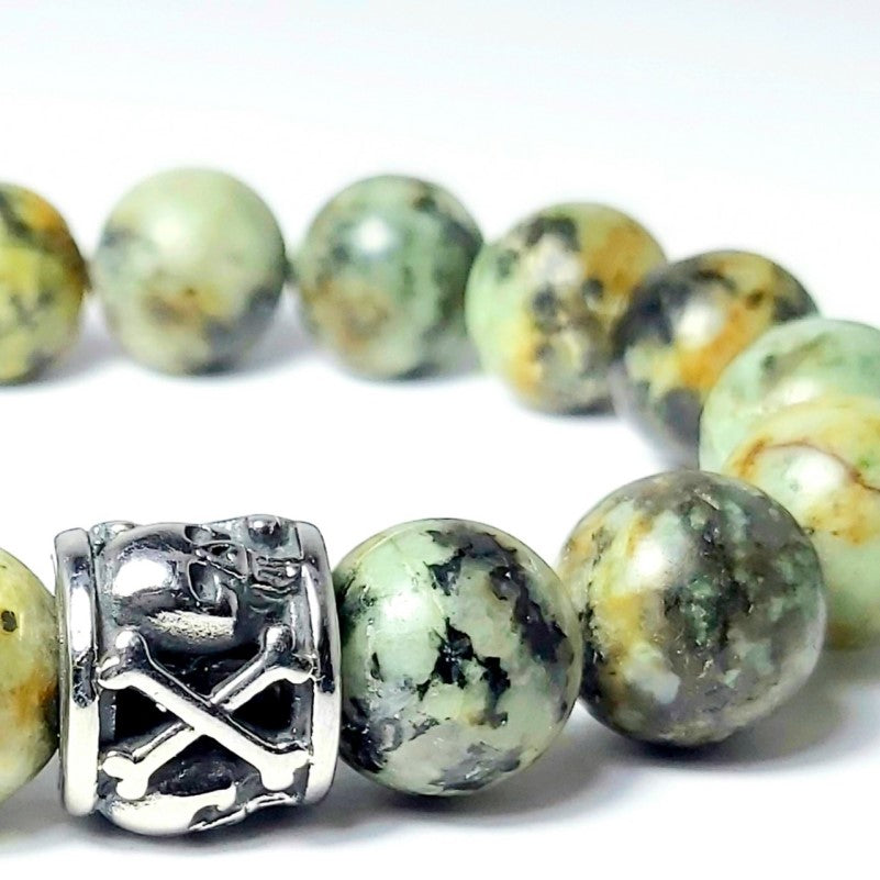 Theodore Black Onyx and Stainless Steel Skull Bead  Bracelet - Theodore Designs
