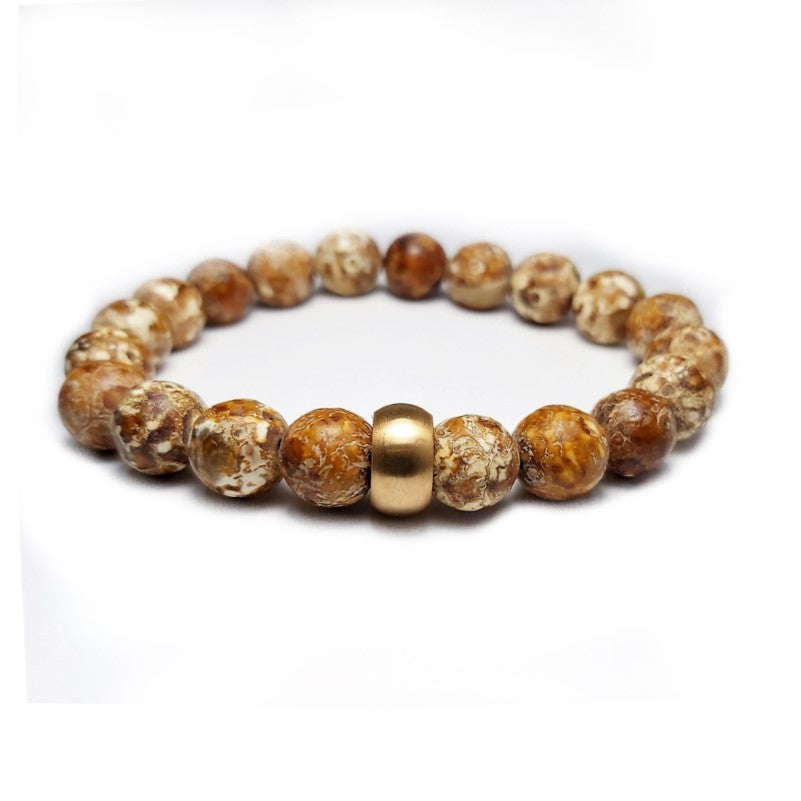 Cudworth Matte Jasper and Gold Plated Spacer Bead Bracelet - Theodore Designs
