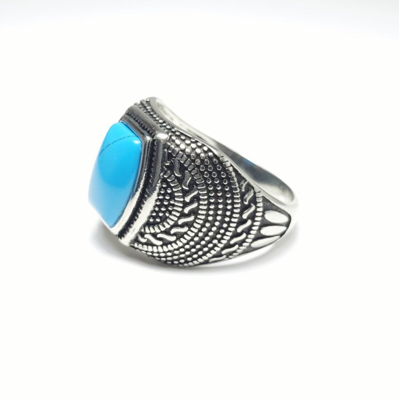 Stainless Steel Men's Blue Stone High Polished  Signet Ring - Theodore Designs