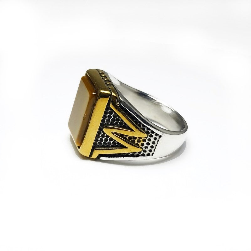 Stainless Steel and Gold Plated Men's Tiger Eye Signet Ring - Theodore Designs
