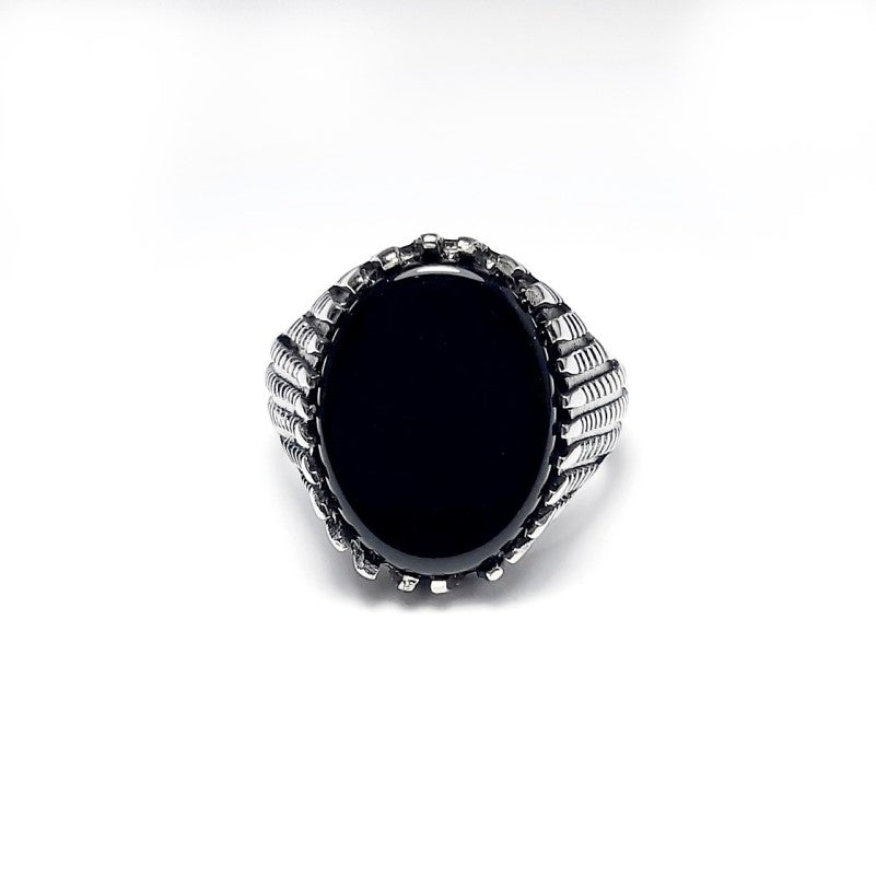 Stainless Steel Men's Black Stone High Polished  Signet Ring - Theodore Designs