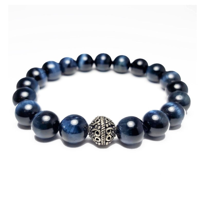 Theodore Blue Hawk Eye Bead Bracelet - Theodore Designs