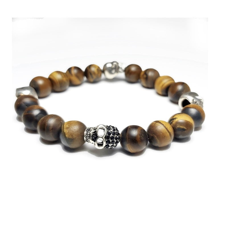 Theodore Matte Tiger Eye and 4 Skull  Bead Bracelet - Theodore Designs