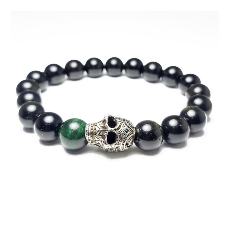 Theodore Gold Obsidian and Green Tiger Eye Skull  Bracelet - Theodore Designs