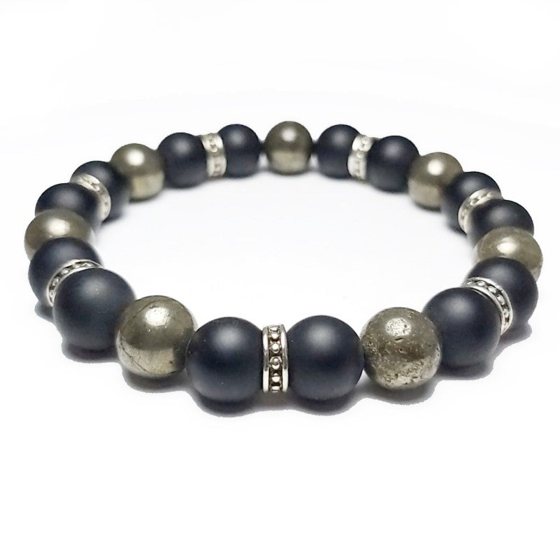 Theodore Black matte Agate and Gold Pyrite Bead Bracelet - Theodore Designs