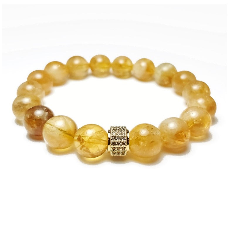 Theodore Natural Yellow Citrine  Gemstone Bead Bracelet - Theodore Designs