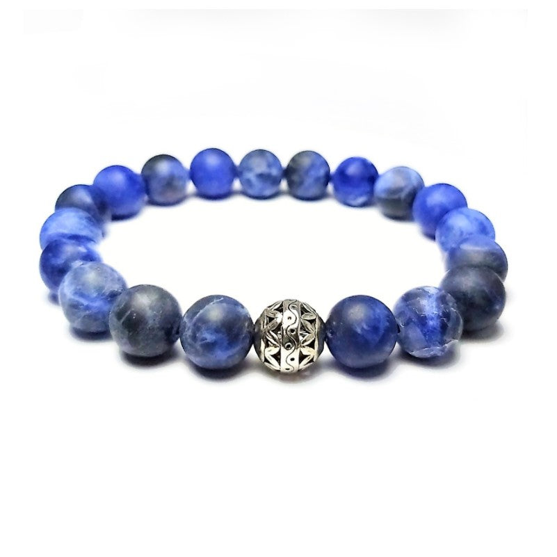 Theodore Matte Sodalite and Antique Silver Bead Bracelet - Theodore Designs