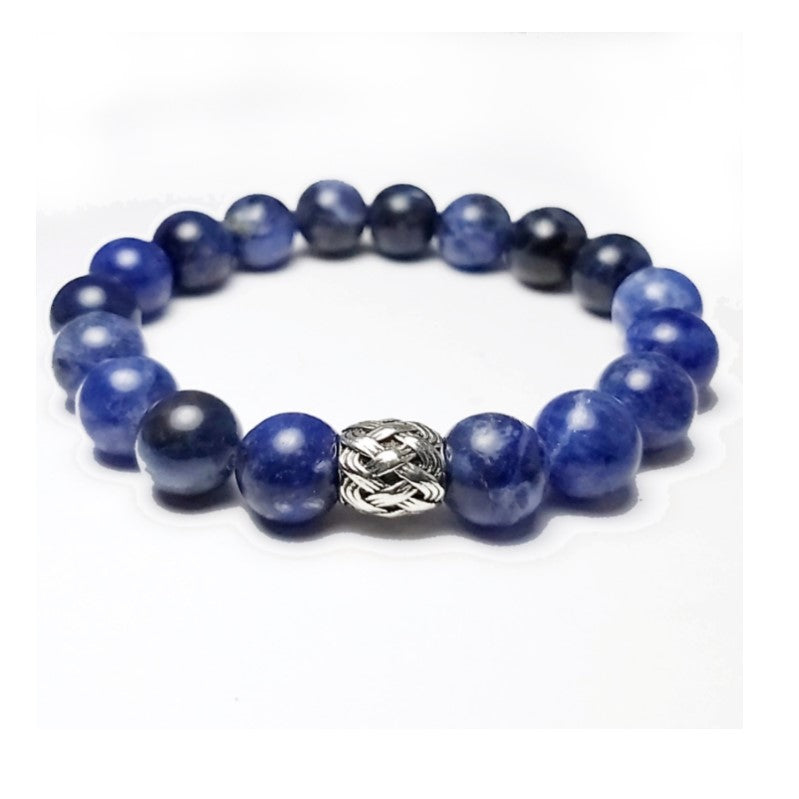 Theodore Sodalite and Antique Silver Bead Bracelet - Theodore Designs