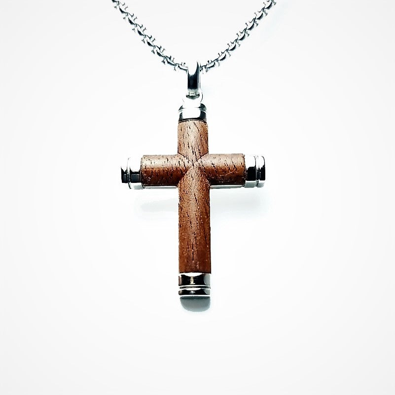 Stainless Steel Rosewood Cross Pendant with Chains - Theodore Designs