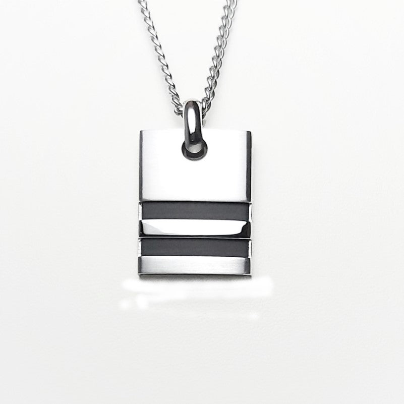 Brushed Stainless Steel Pendant with Double Horizontal Rubber Inlay on a Curb Chain - Theodore Designs