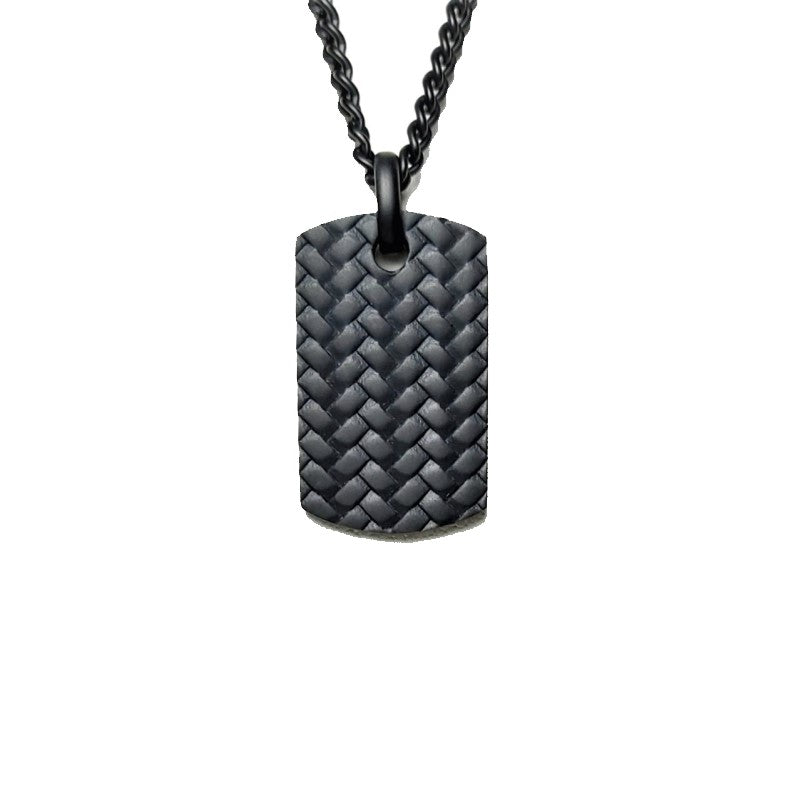 Ion Plated Black Stainless Steel TYRE pattern Dog Tag Pendant & Chain - Theodore Designs