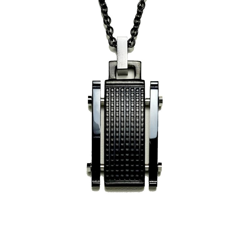 Stainless Steel Ion Plated Pendant on Black Link Chain - Theodore Designs