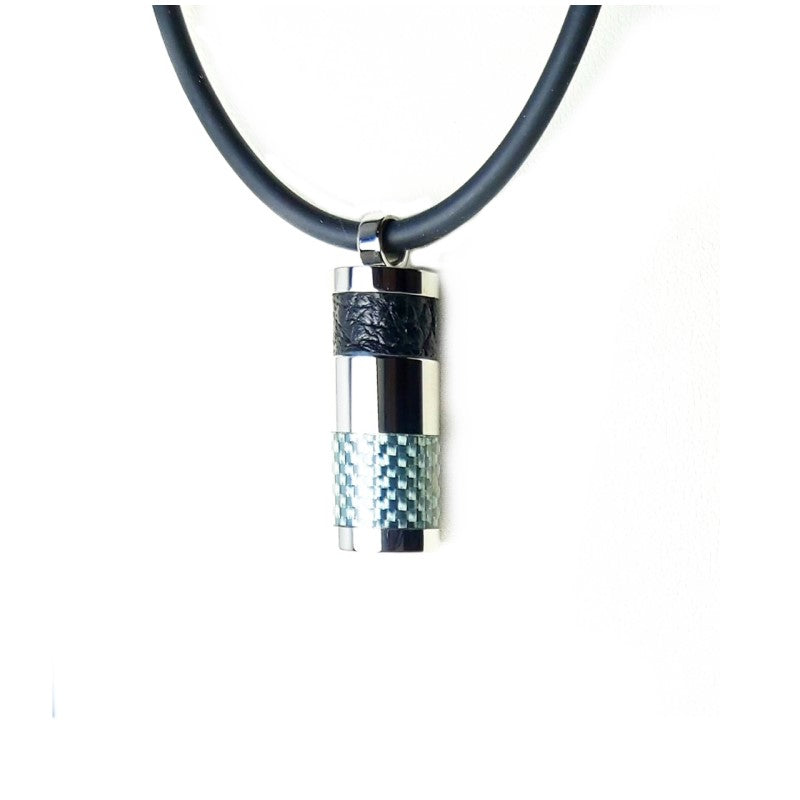 Stainless Steel Carbon Fibre and Leather Pendant on Rubber Necklace - Theodore Designs